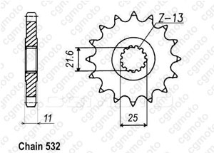 Front sprocket Yzf 750 R 93-98 532