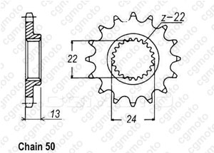 Front sprocket Bombardier 650 Ds 00-04