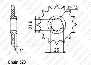 Front sprocket Racing Yzf R6 99-06