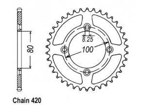 Rear sprocket Xr 80 85-01 Aluminium