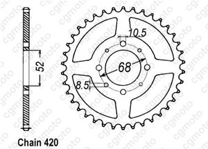 Rear sprocket Sp 370 77-80