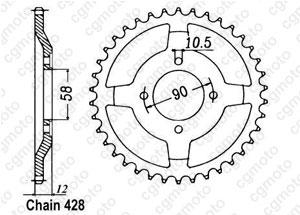 Rear sprocket Nx 125 89-98