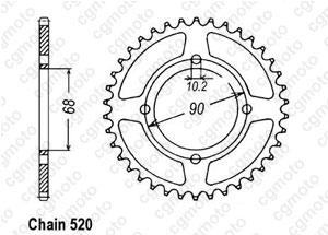 Rear sprocket Mtx 200 Rw 83-86