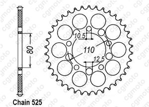 Rear sprocket Cb 450 S/Dx 86-89