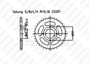 Rear sprocket Sachs 125 Roadstar V2
