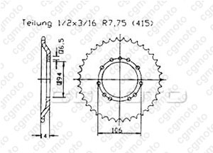 Rear sprocket Ktm 50 Sx Pro 01-03