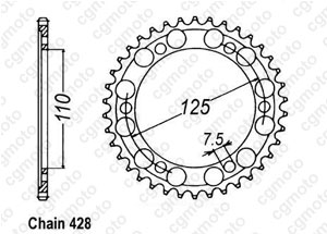 Rear sprocket Gilera 125 Cougar