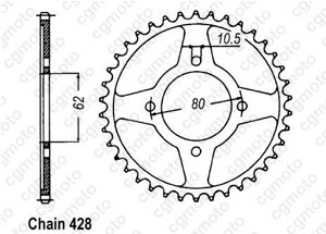 Rear sprocket Tt-r 125  Pts Roues