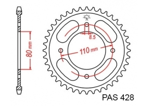 Rear sprocket Honda Cbf 125 08-