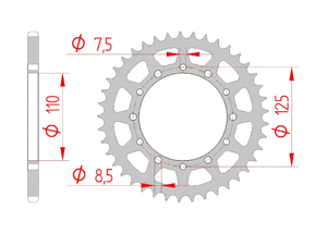 KIT STEEL CAGIVA 125 ALETTA ORO 85-87 Standard Xs-ring