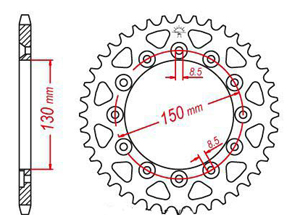 Rear sprocket Steel  TT Esjot Ultralight
